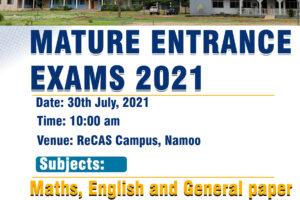 ReCAS Mature Exams